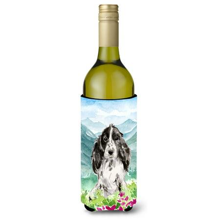 Part I Cocker Spaniel (Mountian Flowers Black Parti Cocker Spaniel Wine Bottle Beverage Insulator Hugger CK1982LITERK )