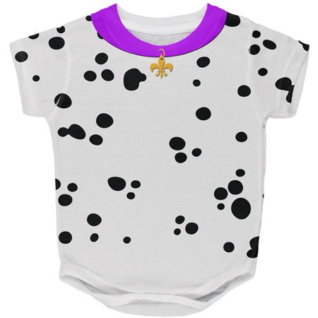 Mardi Gras Dog Dalmatian Costume Purple Collar Fleur De Lis All Over Baby One Piece