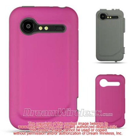 HIGH-END HTC INCREDIBLE 2 / 6350 DARK GRAY SKIN + HOT PINK RUBBER 2 IN 1 - Dark Gray Rubber