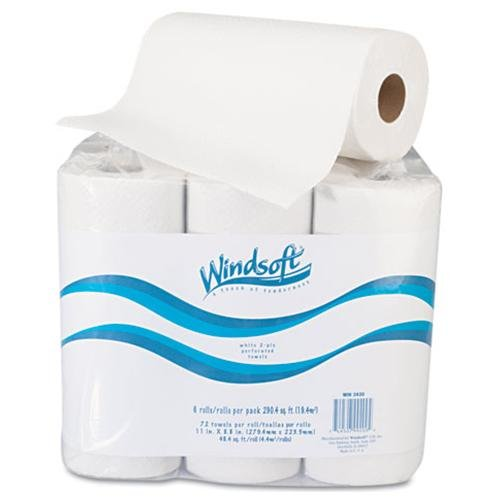 Windsoft 2420 Paper Towel Roll, 11 X 8 4/5, White, 72/roll, 6 Rolls/pack
