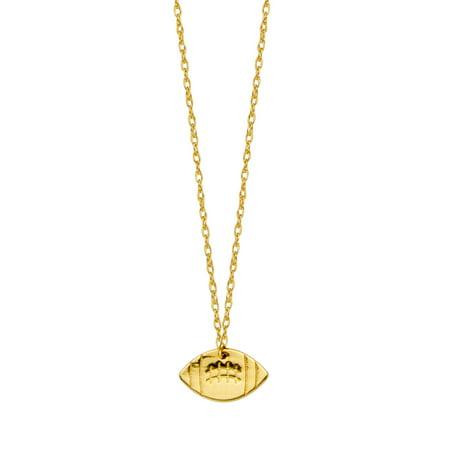 - 14K Yellow Gold Mini Football Necklace, 16