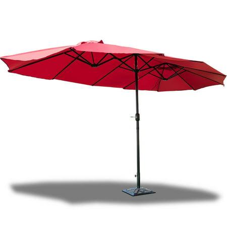 GHP 15'x8.5'x8' Wine Red Steel Polyester Fabric 12 -Rib Patio Double-Side Umbrella