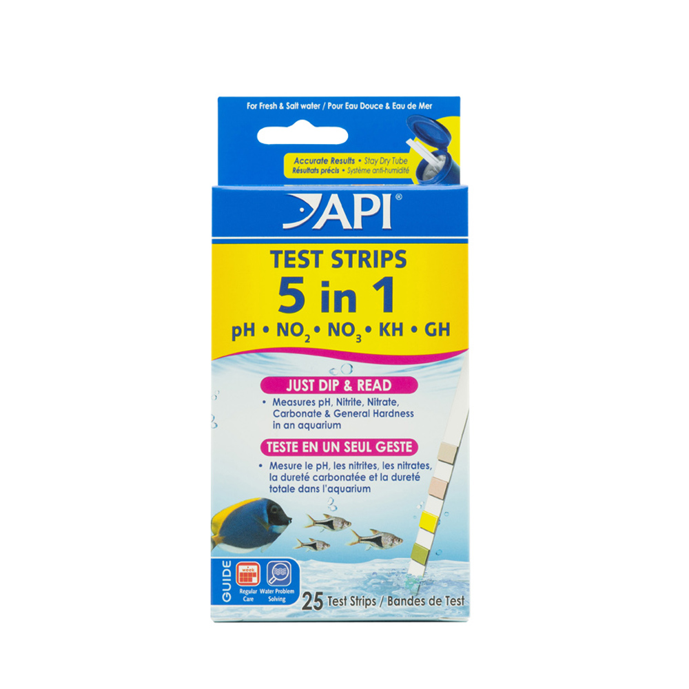API 5-In-1 Test Strips, Freshwater And Saltwater Aquarium Test Strips, 25-Count
