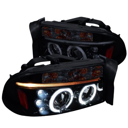 Spec-D Tuning 1997-2004 Dakota/Durango Led Lamps Dual Halo Projector Headlights 1997 1998 1999 2000 2001 2002 2003 2004 (Left + Right) 04 Dodge Dakota Led
