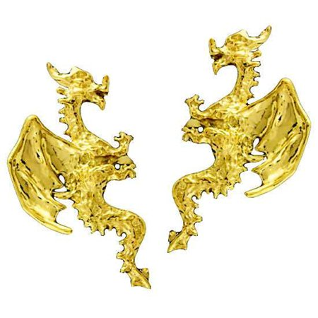 Gold Vermeil Left And Right Pierceless Flying Horned Dragon Ear Cuff Wrap
