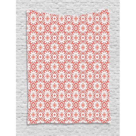 Coral Tapestry, Geometric Art Deco Pattern with Lacing Shapes 30s Style Vintage Motifs, Wall Hanging for Bedroom Living Room Dorm Decor, 40W X 60L Inches, Coral Light Coral White, by Ambesonne