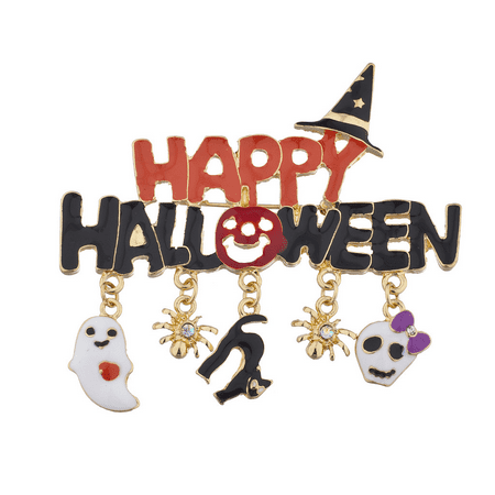 Enameled Witchs - Lux Accessories Black n Orange Enamel Happy Halloween Witch Hat Charm Brooch Pin