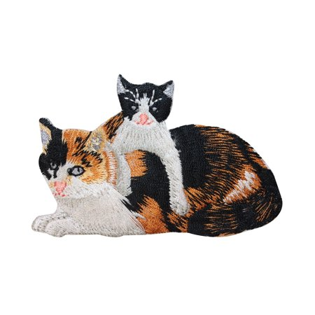 ID 2906 Mama Cat and Kitten Patch Calico Kitten Pet Embroidered Iron On Applique