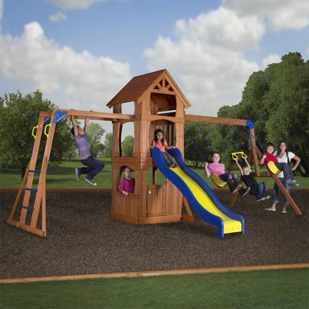 Parkway Wooden Swing Set With Monkey Bars