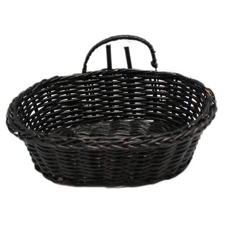 Miniature Oval Black Colored Wicker Basket ()