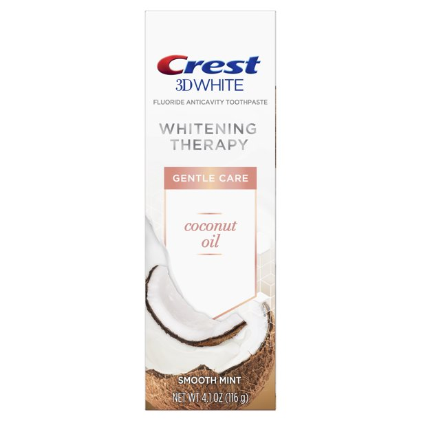 Crest 3D White Whitening Therapy Gentle Care Coconut Oil Fluoride Toothpaste, Smooth Mint, 4.1 Oz