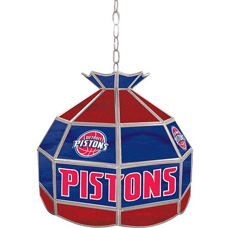 """Trademark Global Detroit Pistons NBA 16"""" Stained Glass Tiffany Lamp Light Fixture by"""