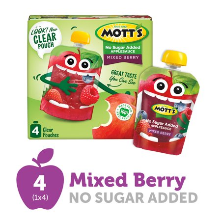 Mott's No Sugar Added Mixed Berry Applesauce, 3.2 oz clear pouches, 4 count