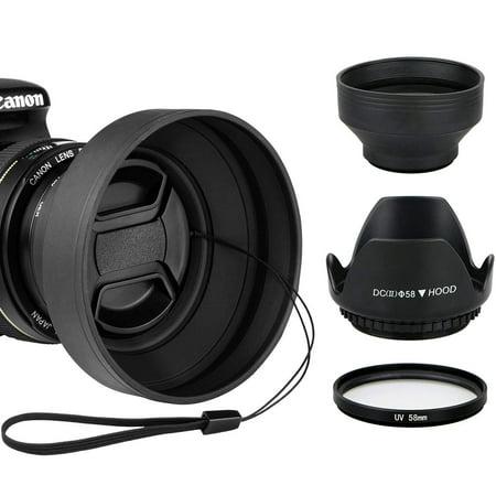1 Collapsible Rubber Lens (EEEKit 58MM Lens Hoods & UV Filter Lens Protector Kit for Canon Rebel T6i T6 T5i T5 SL1,Hard Tulip Flower Shaped & Soft Rubber Collapsible Hoods )