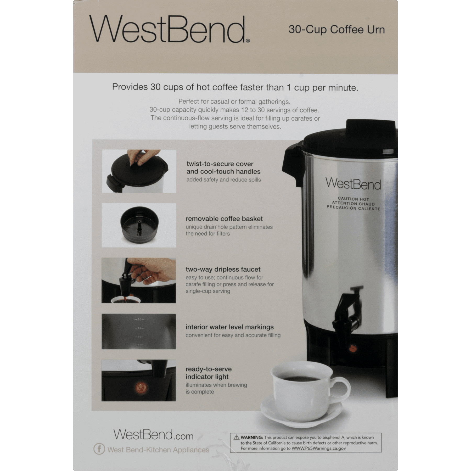 West Bend 58030 30 Cup Commercial Polished Urn Aluminum Walmartcom