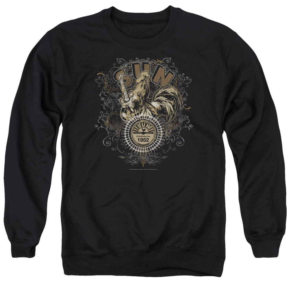 Sun Scroll Around Rooster Mens Crewneck Sweatshirt