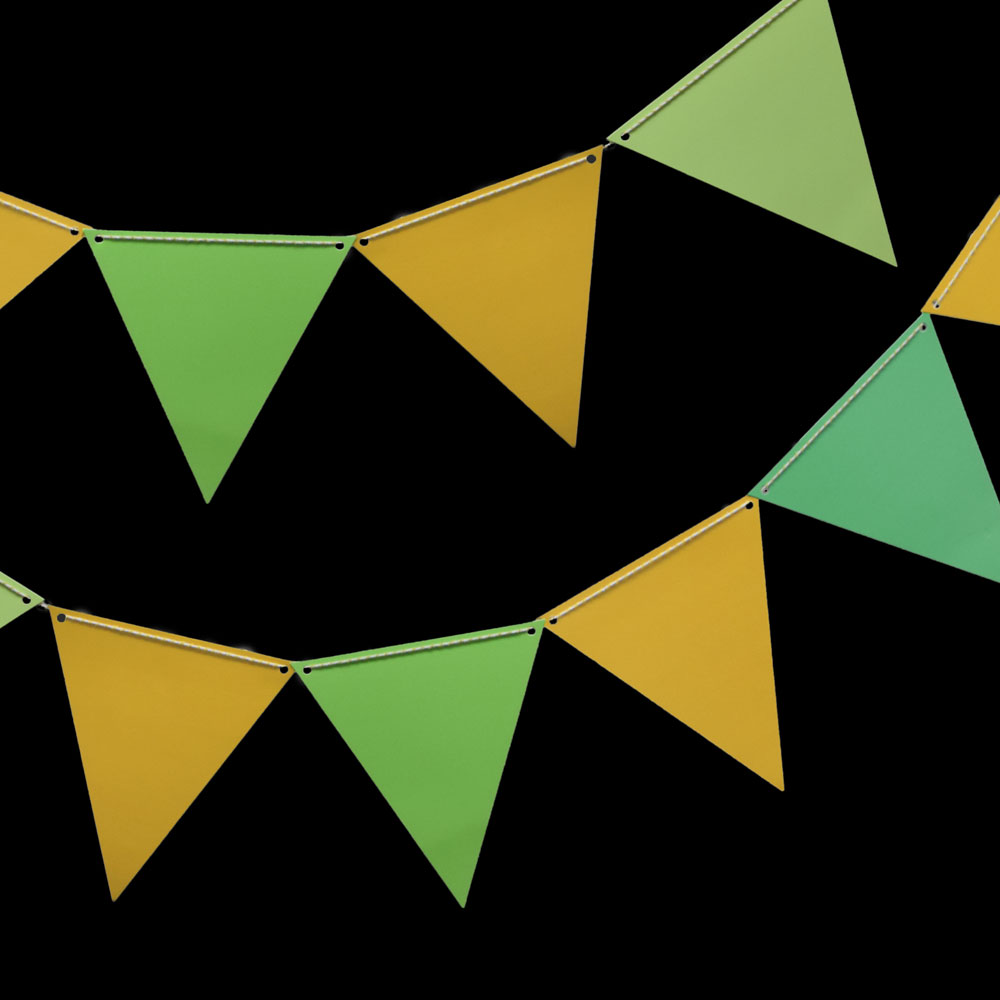 Quasimoon St. Patrick's Day Green & Gold Triangle Flag Pennant Banner Combo Kit (11FT) by PaperLanternStore