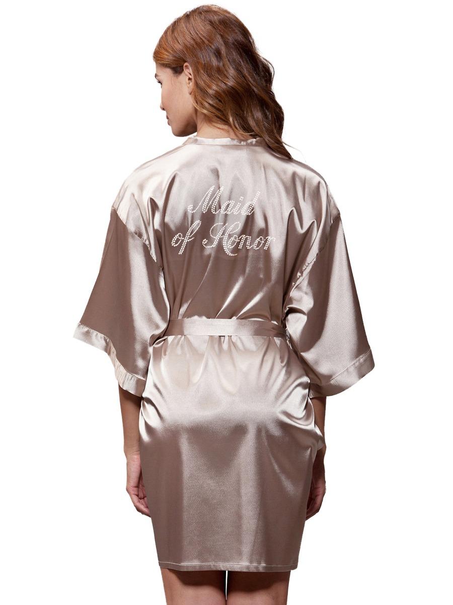 eb86ff275e Turquaz Linen - Turquaz Linen Satin Kimono Rhinestone Maid of Honor Robe  (Large
