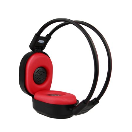 PIXNOR Foldable Wireless Headphone Portable FM Stereo Headset Radio _Black Red_