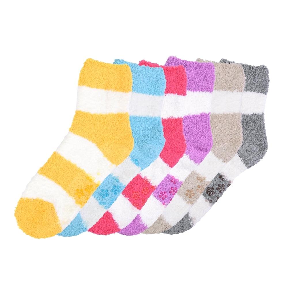 6 Pair Super Soft Winter Non-Skid Cozy Fuzzy Striped Solid Slipper Socks 9-11