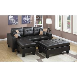 Piacenza Sectional Sofa With Ottoman In Espresso Bonded Leather