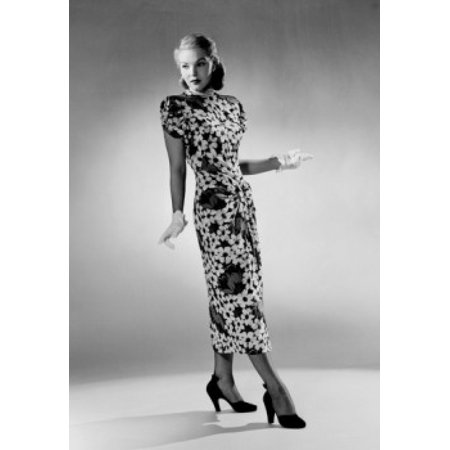 Young Woman Wearing Dress High Heels And Formal Gloves Poster Print