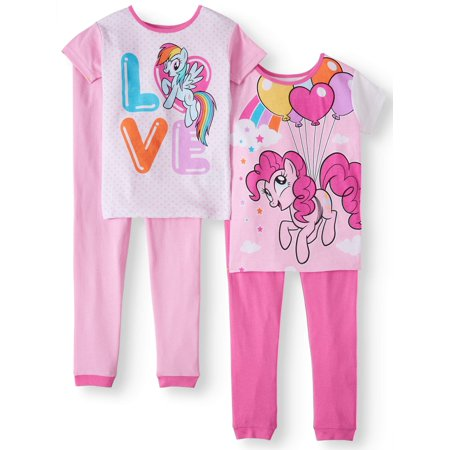 Girls Pajamas Size 7 (Girls' My Little Pony 4 Piece Pajama Sleep Set (Little Girl & Big)