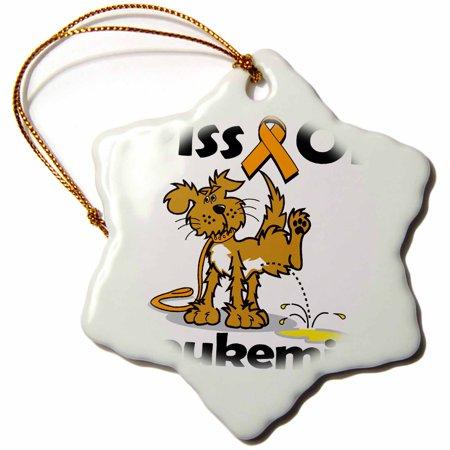 3dRose Piss On Leukemia (Orange) Awareness Ribbon Cause Design, Snowflake Ornament, Porcelain, 3-inch