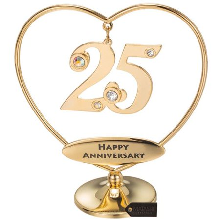 Matashi Crystal Beautiful 25th ''Happy Anniversary'' Heart Table Top Sculpture