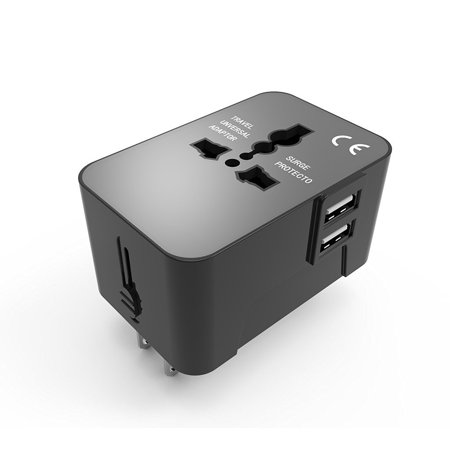 Qiaya Universal Travel Adapter With Dual 2 1A Usb Ports Us Uk Eu Au Worldwide Wall Adaptor International Ac Wall Charger Black