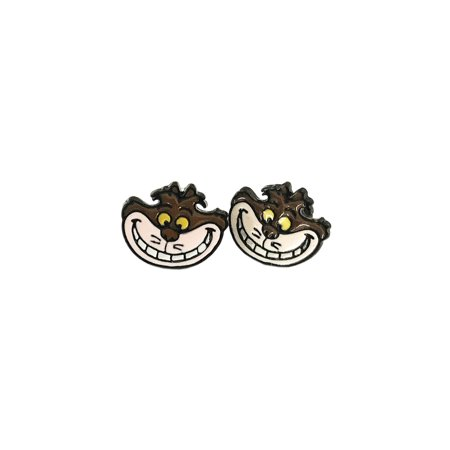 Alice In Wonderland Cheshire Cat Silver Tone Cartoon Comic Logo Post Earrings w/Gift Box by Superheroes Brand ()