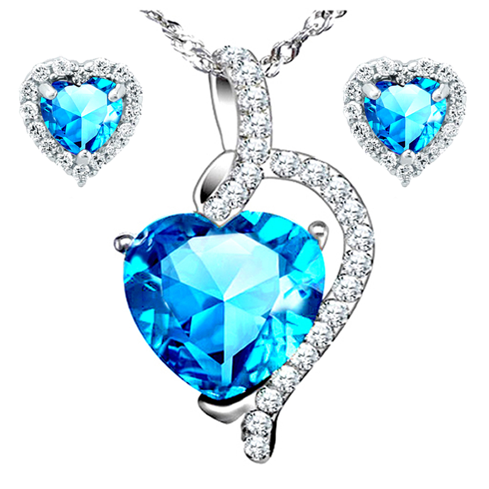 Devuggo 4.10 Carat TCW Heart Cut Gemstone Created Blue Topaz 925 Sterling Silver NecklacePendand & Earrings 3 Pieces Jewelry Set
