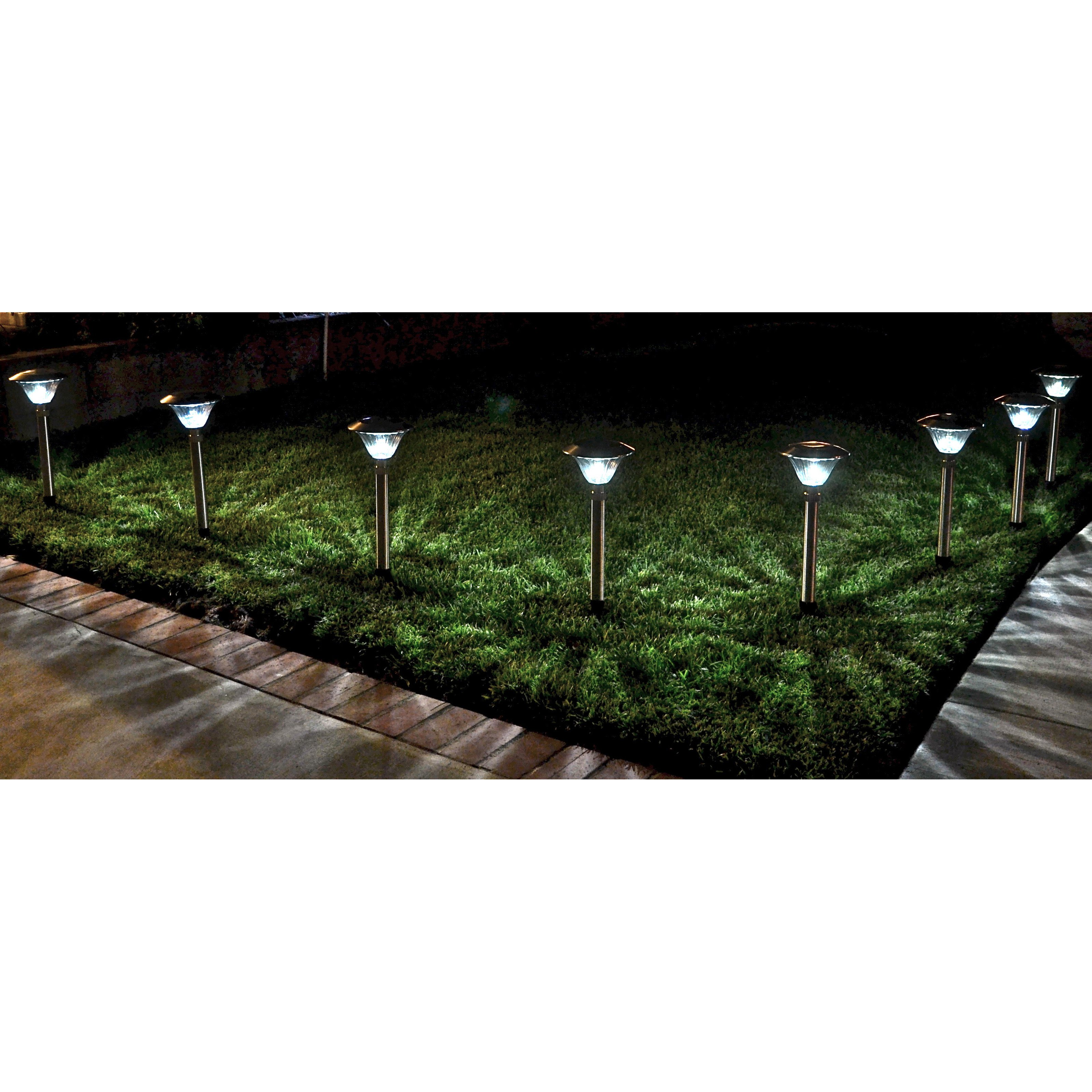 Outdoor Solar Pathway Lights Homebrite solar power sierra path lights set of 8 stainless homebrite solar power sierra path lights set of 8 stainless steel walmart workwithnaturefo