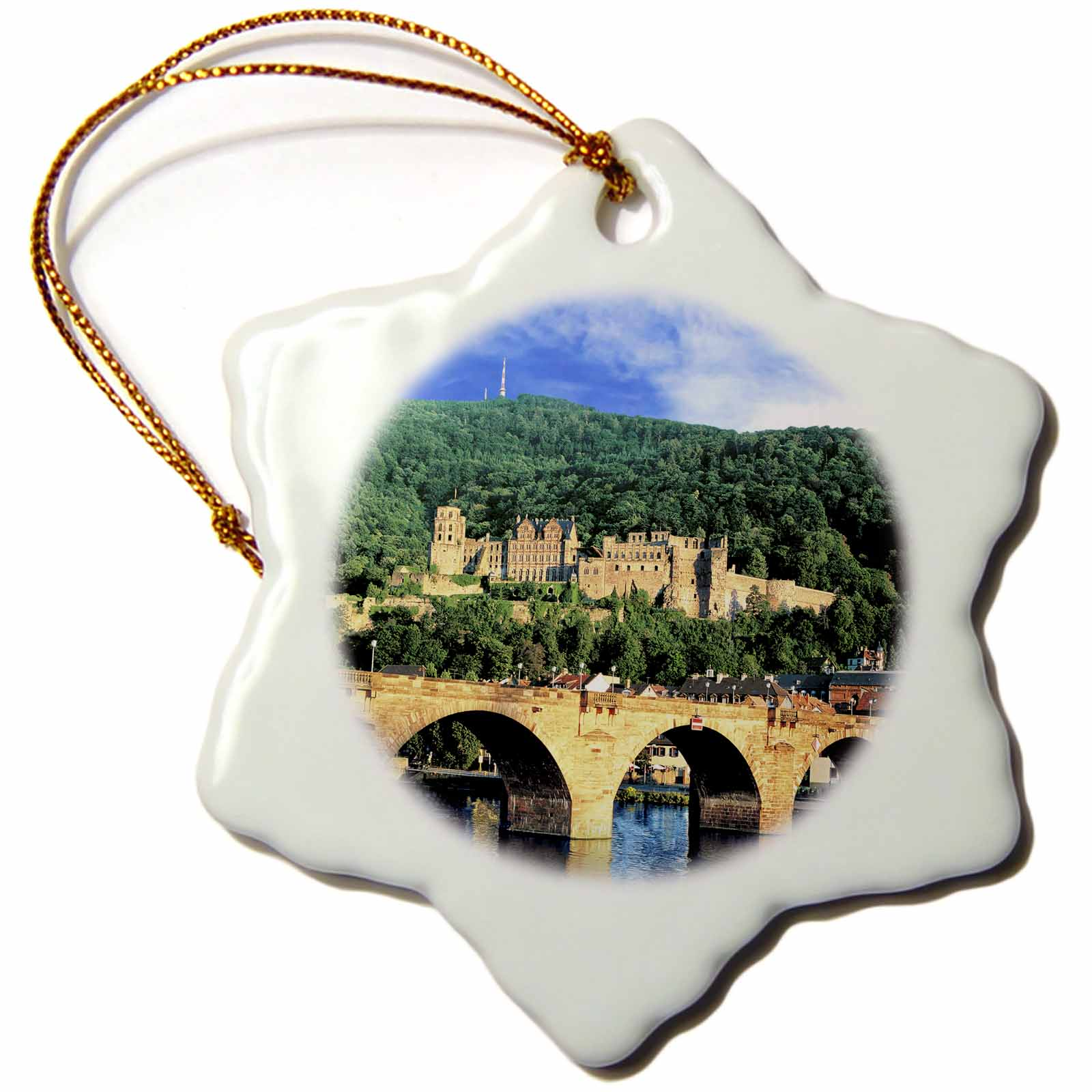 3dRose Heidelberg Castle, Neckar River, Alte bridge, Germany - EU10 MGL0217 - Miva Stock - Snowflake Ornament, 3-inch