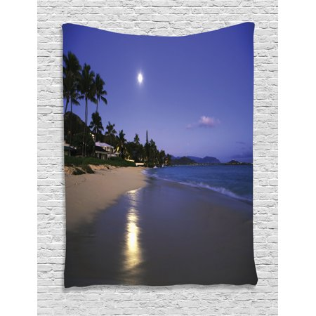 Hawaiian Decor (Tropical Wall Hanging Tapestry, Houses Clear Sky Full Moon and Moonlight Reflection at Daybreak on a Hawaii Beach, Bedroom Living Room Dorm Decor, Navy Sand, by)