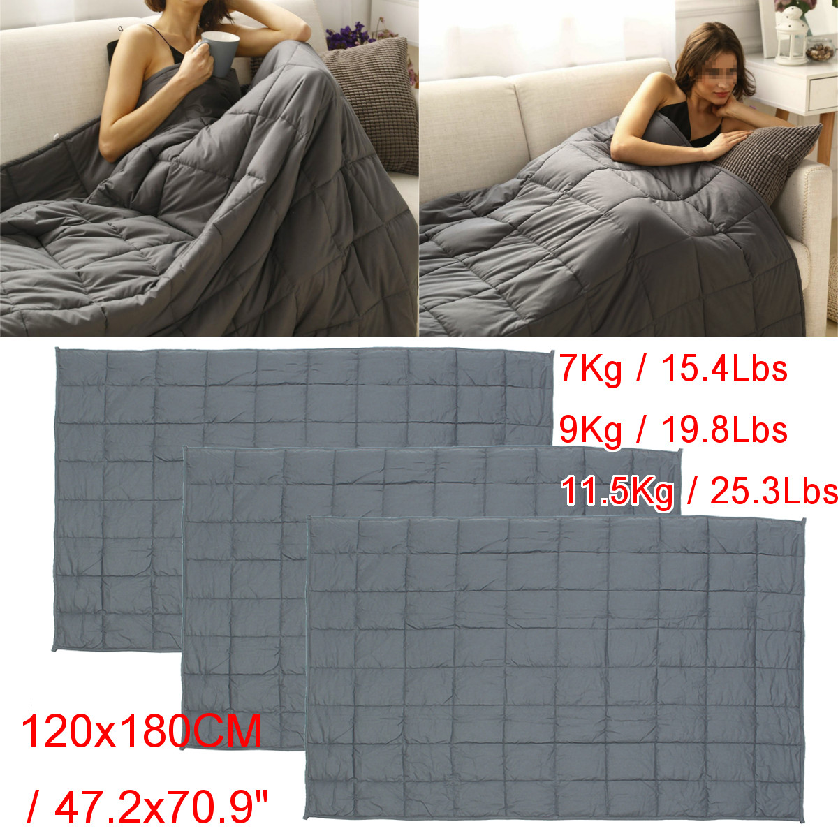 """47x70"""" 7kg-11.5kg Weighted Blanket for Adults & Kids, Heavy Gravity Blanket to Improve Sleep for People With Anxiety , Autism, ADHD, Insomnia and Stress"""