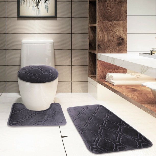 Banded Supersoft Bathroom Bath Mat