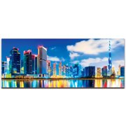 Metal Art Studio Dubai at Night City Skyline on Metal or Acrylic by Modern Crowd Urban Cityscape Enhanced Photo Print