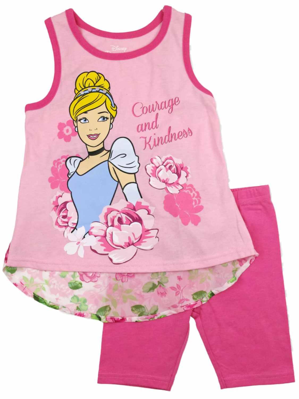 Disney Infant Girls Cinderella Baby Outfit Pink Flowery Tank Top Pink Legging 2T