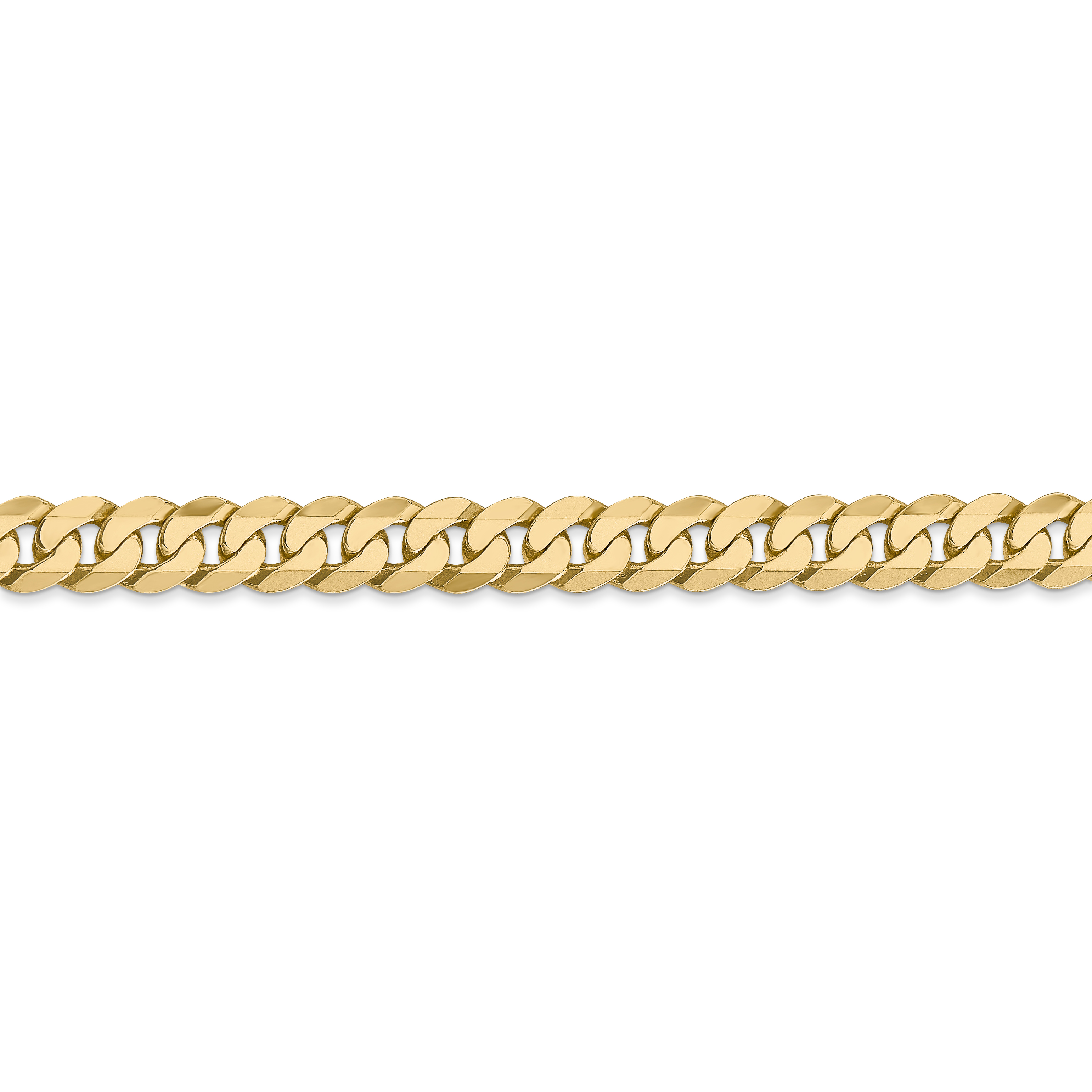 14k Yellow Gold 6.25mm Beveled Link Curb Chain Anklet Ankle Beach Bracelet 7 Inch : Fine Jewelry Gifts For Women For Her - image 2 de 4