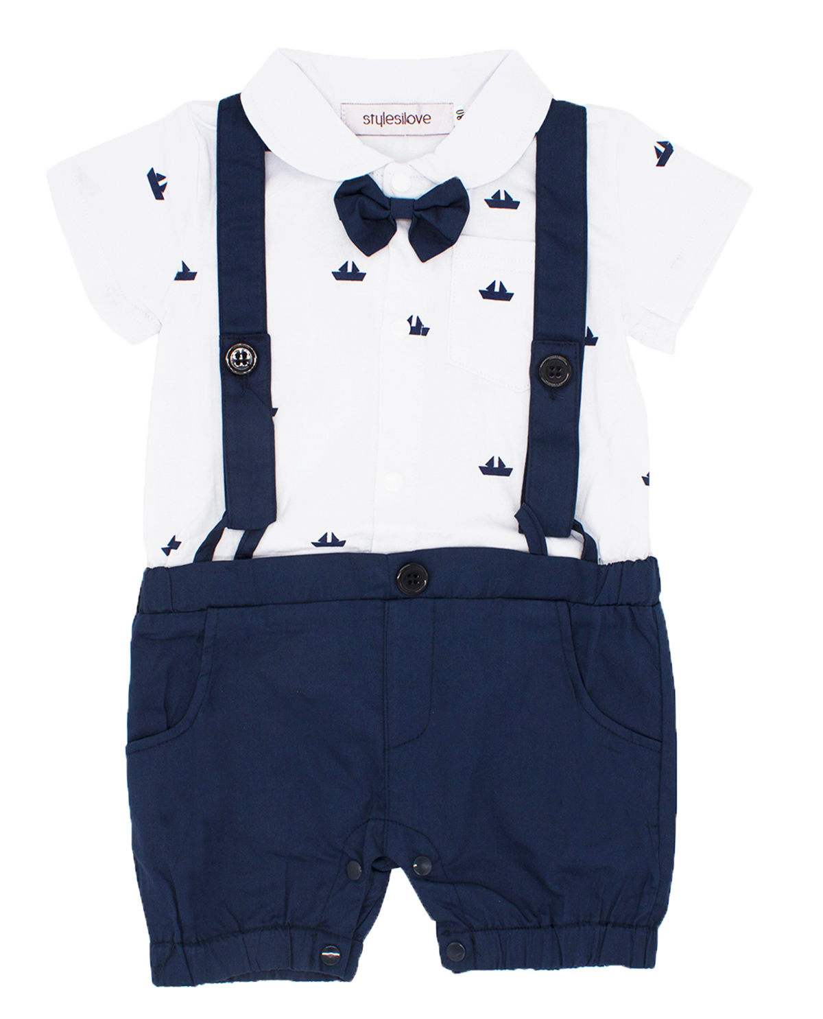 3-24 Months Baby Boys Mickey Mouse Short Sleeve Romper White and Blue