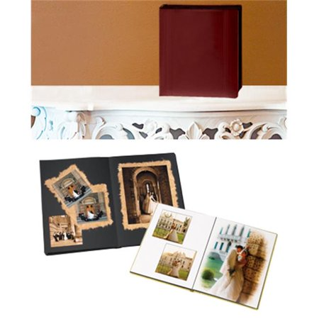 Leather Album Designs PD26091114618B Peel And Stick Self Mount 11X14 Burgandy Faux Leather Album 18 Pg - 36 Sides