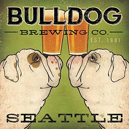 Bulldog Brewing Co Seattle by Ryan Fowler 12x12 Bulldogs Beer Signs Dogs Animals Art Print Poster   Vintage Advertising Sign
