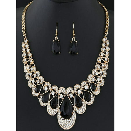 Black Bead Bib Necklace - Womens Mixed Style Bohemia color Bib Chain Necklace Earrings Jewelry BK