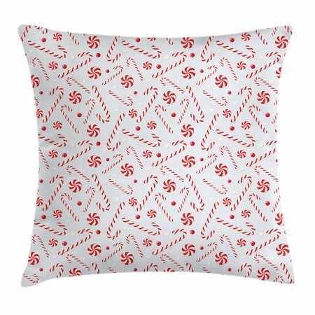Candy Cane Throw Pillow Cushion Cover, Sugary Treats of New Year Celebrations Pattern of Festive Holiday Food, Decorative Square Accent Pillow Case, 18 X 18 Inches, Red White Coconut, by Ambesonne