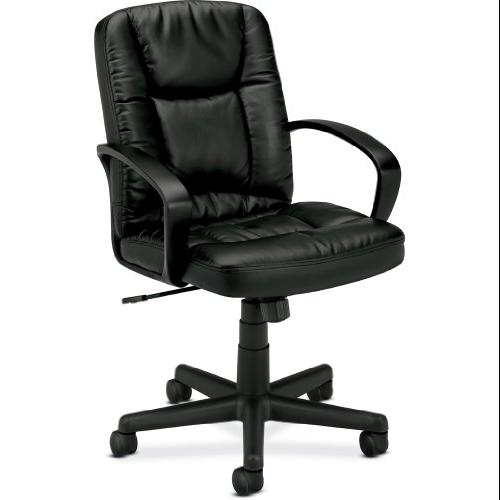"Basyx By Hon Vl171 Mid Back Loop Arm Management Chair - Leather Black Seat - Back - Black Frame - 25.4"" X 34.5"" X 38.8"" Overall Dimension (VL171SB11_40)"