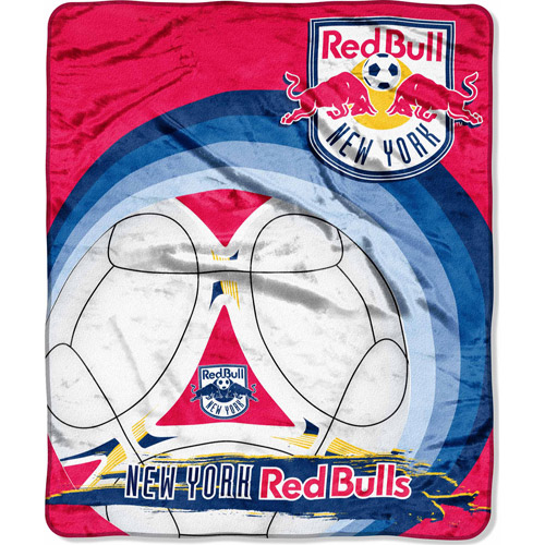 "MLS 50"" x 60"" Royal Plush Raschel Throw, New York Red Bulls"