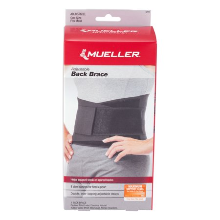 Mueller Sport Care Maximum Support Level Adjustable Back Brace, 1.0 CT
