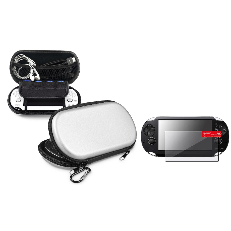 Insten Silver EVA Hard Case Pouch+Anti-Glare Guard For Sony Playstation PS Vita PSV