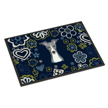 Italian Greyhound - Blue Flowers Italian Greyhound Indoor or Outdoor Mat 18x27 BB5087MAT